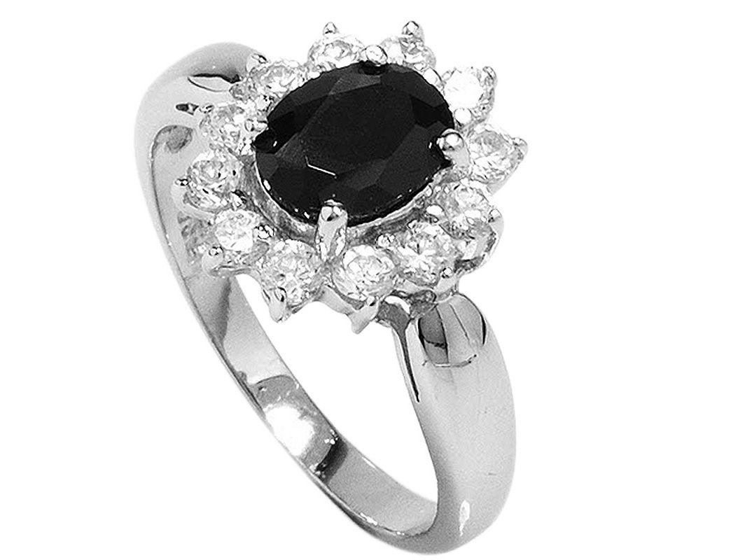 Jaw-Dropping Onyx CZ Gemstone, 925 Sterling Silver Ring Size 7.5(P)
