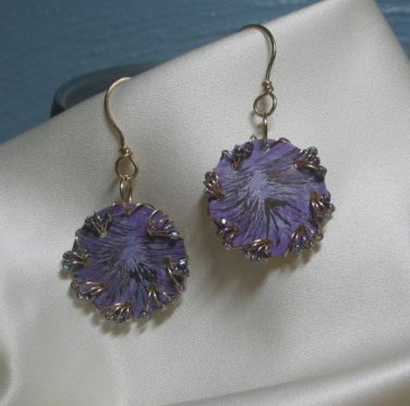 Purple Passion Round Wire Wrapped Bead Dangle Earrings Handmade in the USA