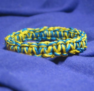 Blue and Yellow 7 inch Hemp Bracelet with Elastic Core Handmade in the USA