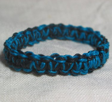 Blue and Black 7 inch Hemp Bracelet with Elastic Core Handmade in the USA