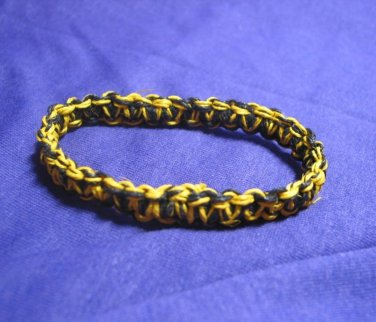 Black and Yellow 7 inch Hemp Bracelet with Elastic Core Handmade in the USA
