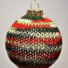 Green Red White Hand Knit Glass Christmas Ornament