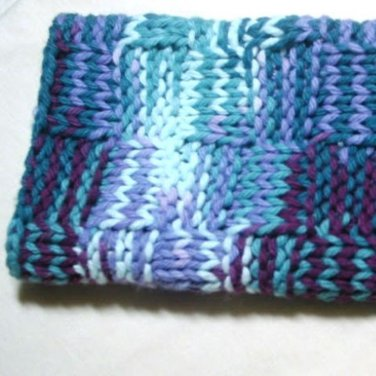 Hand Knitted Dish Cloth Variegated Green and Purple
