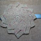 Hand Knitted 12 Point 10 inch Diameter Dish Cloth Cream