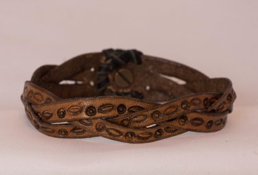 Stamped Leather Mystery Braid 7.5 inch Bracelet