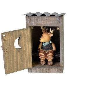 Deer in an Outhouse Polyresin