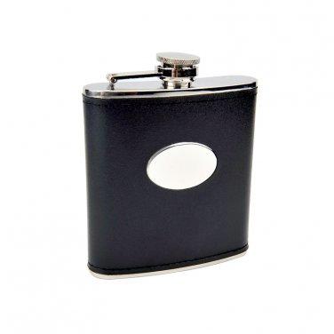 6oz Black Engravable Flask