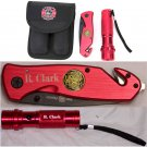 Personalized Firefighter Knife and Flashlight Gift Set