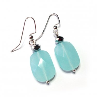 Stylish Unique Handmade Blue & Czech Glass Bead Silver Tone Dangle Earrings