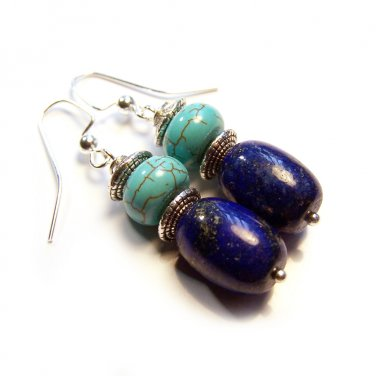 Blue Lapis Lazuli & Magnesite Stone Silver Tone Dangle Earrings