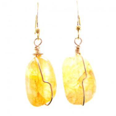 Handmade Yellow Nugget Citrine Gemstone Bead Gold Tone Wire Wrapped Earrings