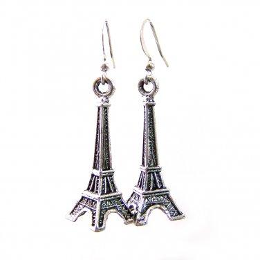 ilver Plated Eiffel Tower Charm Handmade Dangle Earrings