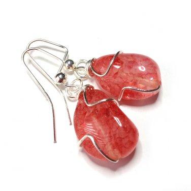 Handmade Pink Cherry Quartz Gemstone Silver Tone Wire Wrapped Dangle Earrings