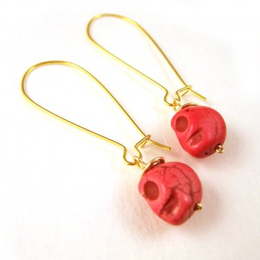 Handcrafted jewelry Pink Skull Turquoise Gemstone Gold Plated Earring