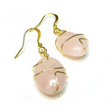 Handcrafted Rose Quartz Gemstone Wire Wrapped Gold Plated Dangle Earrings