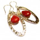 Handcrafted jewelry - red Howlite gemstone beads sterling silver dangle earrings