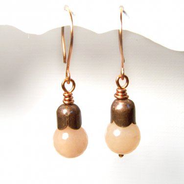 Handmade  Aventurine gemstone beads copper earrings
