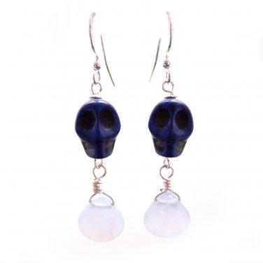 Unique Jewelry Alexandrite w/ blue skull howlite gemstone silver Dangle Earrings