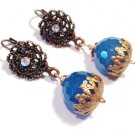Blue dyed Jade Gemstone w/ fancy hook copper dangle earrings