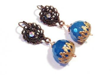 Blue dyed Jade Gemstone w/ fancy hook copper dangle earrings