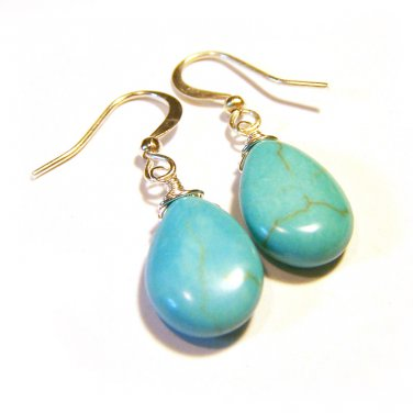 Howlite stone wire wrapped silver plated handmade earrings