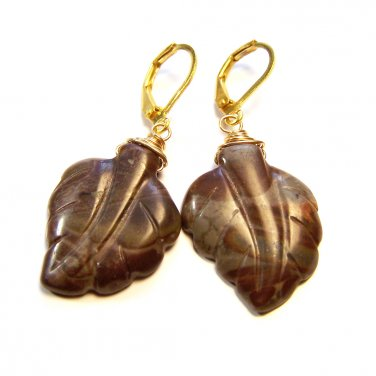 American Picture Jasper Leaf Carved stone Gold plated earrings