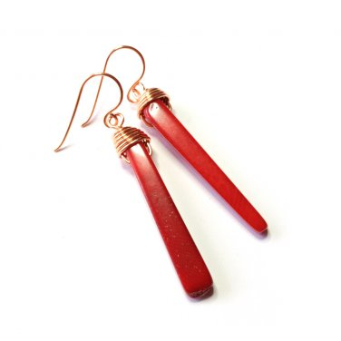 Red Coral Gemstone Stick Copper Wire Wrapped Dangle Earrings