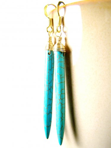 Handmade Turquoise Gemstone Stick Wire Wrapped Gold Plated Earrings