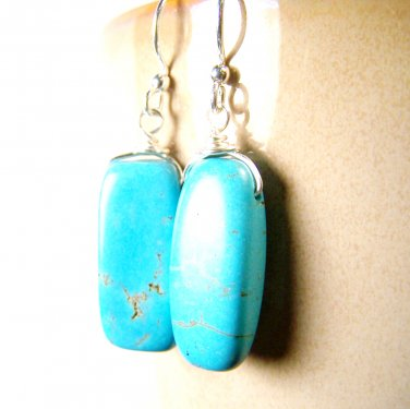 Handmade Turquoise (reconstructed) Wire Wrapped Silver Plated Dangle Earrings