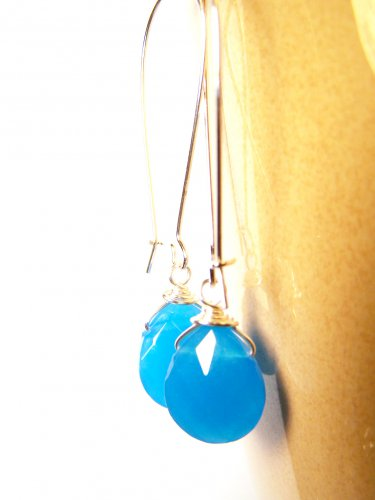 Blue Faceted Glass Bead Silver Plated Dangle Earrings