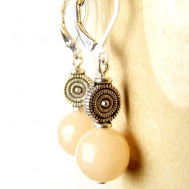 Handmade Faceted Red Aventurine Gemstone Silver Plated Dangle Earrings