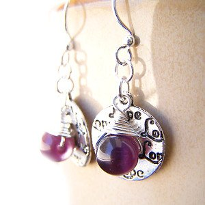 Purple cat's eye glass bead handmade silver plated earrings