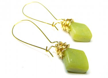 Green Jade gemstone gold plated wire wrapped earrings