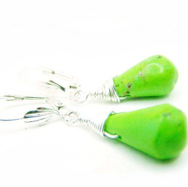 Green turquoise gemstone wire wrapped silver dangle earrings