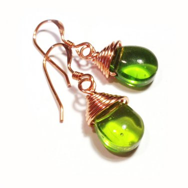 Handmade green glass briolette copper dangle earrings