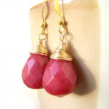 Unique Handmade Jade Gemstone Teardrop Gold Plate Earrings