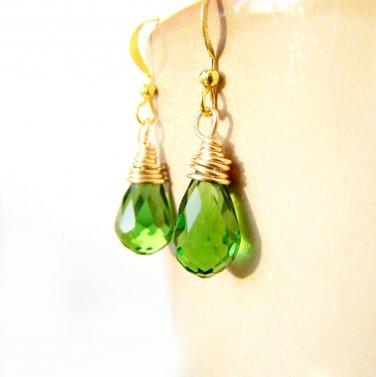 Handmade Green Glass Teardrop Gold Plate Wire Wrapped Earrings
