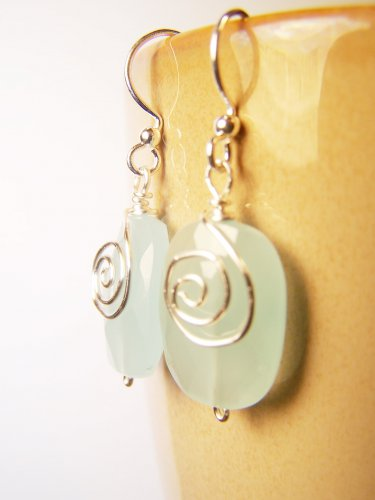 Handmade Soft Blue Crystal Glass Bead Wire Wrapped Silver Earrings