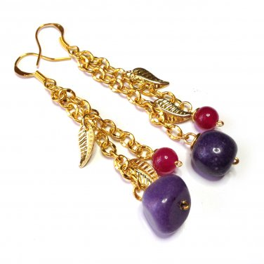 Purple Marble Bead, Pink Dyed Jade & Gold Leaf Gold Tone Drop Earrings