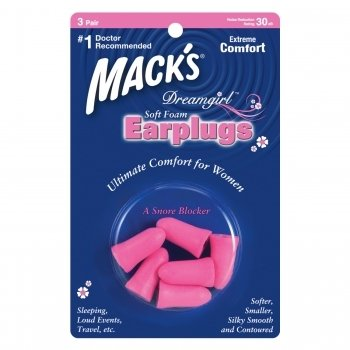 Mack's Dreamgirl Soft Foam Ear Plugs Sleep Read Travel Pink 3 Pair Earplugs