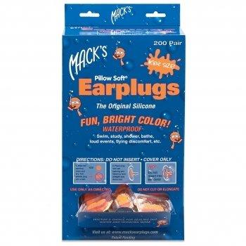 Mack's Moldable Silicone Earplugs Ear Plugs Kid Size 200 Pair Dispenser Orange