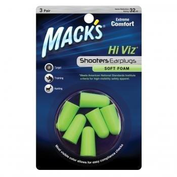 Mack's Hi Viz Soft Foam Ear Plugs Shooting Range Sports Hunting 3 Pair Earplugs