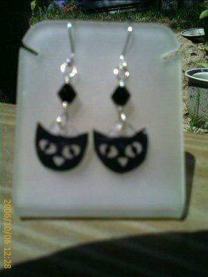 Black Cat Crystal Sterling Silver Earrings