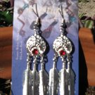 Shiny Silver Feather Drop Earring Swarovski Red Crystal