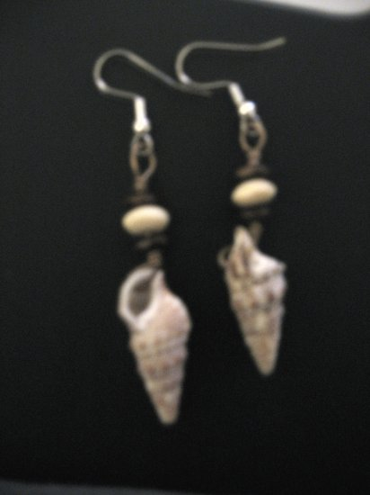 Caribbean Virgin Island White and Brown Shell Earrings with Wood Rondelles
