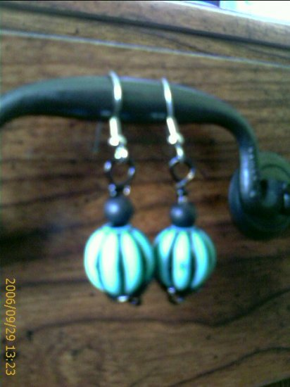 Black Wire spiral wrapped Turquoise Blue, Black striped acrylic beads Earrings