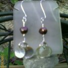 Mother of Pearl, Brown FW Pearl Sterling Silver Earrings