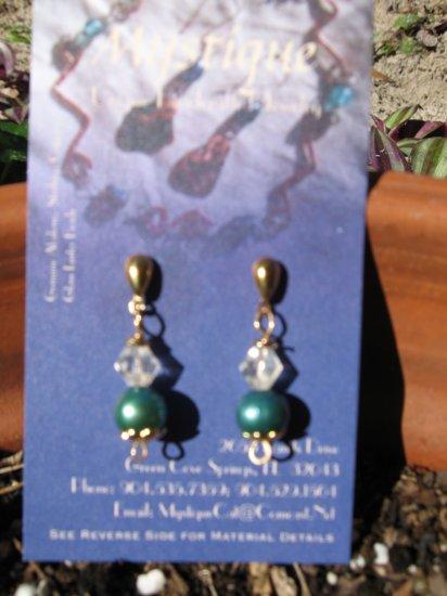Genuine Blue/Green Pearl ,Gold Drop Earrings w/Crystal