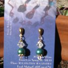 Genuine Blue/Green Pearl ,Gold Drop Earrings w/Crystal