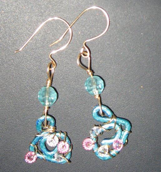14k GF Green Blue Metallic Copper Swirl Clear, Pink Swarovski Crystal Earrings